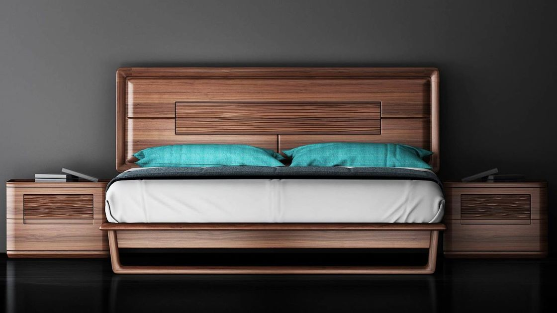 Full Solid Wood Uruguay Rose Wood Bedroom Furniture , 1.8*2.0 King Size Bed